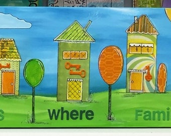 """Original Mixed Media 12x36 Painting on Canvas - Painting Home Decor Artwork - Folk Art - """"Home is Where Family Lives"""""""