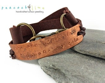 You Are Beginning to Damage My Calm leather wrap bracelet // burgundy brown leather & copper handstamped tag wrap bracelet // handmade