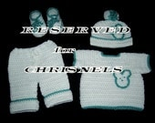 RESERVED for Chris Nels - Crochet Pant Set for Baby Boy in White and Green