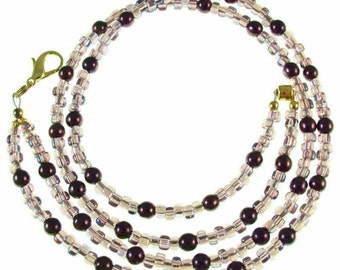 OVERSTOCK SALE! Purple pearl & glass beaded, break away ID badge holder, necklace and more- gold or silver