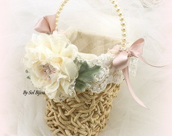 Flower Girl Basket, Ivory, Rose, Green, Linen, Straw Basket, Shabby Chic,Rustic,Outdoor Wedding,Lace, Crystals, Pearls Pearl Handle, Vintage