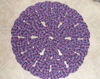 Handwoven Rug Made from Recycled Climbing Rope - 27 inch diameter.