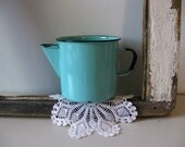 Vintage large enamel tin cup with spout Robins egg blue tin cup with black trim