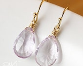 PRE-XMAS SALE Sweet Pink Amethyst Earrings - Gold or Silver - Bridesmaids Earrings