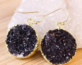 ON SALE Gold Black Druzy Quartz Earrings - Medium Size - Dangle Earrings