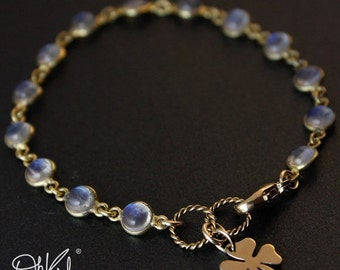 ON SALE Gold Rainbow Moonstone Bracelet - June Birthstone Bracelet - Clover Charm