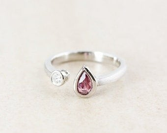 25% OFF Teardrop Pink Tourmaline Dual Ring - Round Diamond - Sterling Silver