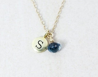 25% OFF London Blue Topaz Necklace with Initial - Gold or Silver