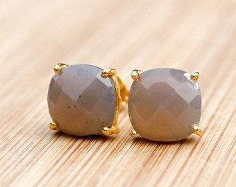 25% OFF Gold Grey Chalcedony Stud Earrings - Cushion Cut Stud Earrings - Prong Set Studs