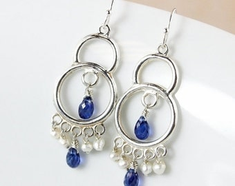 LABOR DAY SALE Blue Kyanite Chandelier Earrings – Freshwater Pearls – 925 Sterling Silver