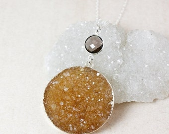50 OFF SALE Orange Druzy and Smokey Quartz Necklace – Choose Your Druzy – 925 Sterling Silver Chain