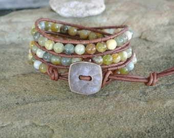 Sora Jasper Beaded Leather Wrap Bracelet