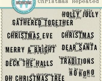 Digital Scrapbook Christmas Repeated Wordart