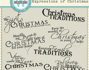Digital Scrapbook Expressions of Christmas Wordart