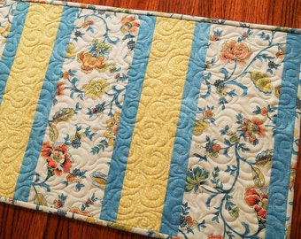 Quilted Table Runner with Blue and Yellow Flowers, Modern Floral Table Topper, Quilted Table Mat, Blue Yellow Orange Cream, Quiltsy Handmade