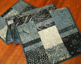 Indigo Batik Quilted Table Runner, Blue and White Table Runner, Denim Blues, Quilted Table Mat, Quilted Tablecloth, Quiltsy Handmade