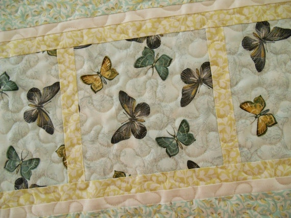 Butterfly Quilted Table Runner in Aqua Yellow and Grey, Quilted Butterflies Table Runner, Blue and Yellow, Quilted Table Mat