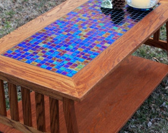 Mission Style Coffee Table. Arts And Crafts Coffee Table. Glass Mosaic Tile  Coffee Table