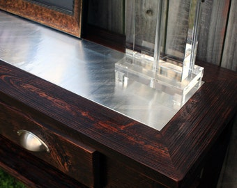 """Large Console Table, Distressed Aluminum Inlay, Reclaimed Wood, Very Dark Brown Finish, 60"""" l x 15"""" w x 30"""" t - Handmade"""