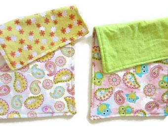 Burp Cloths, Reversible Flannel, Set of 2, Soft Burp Cloths, Baby Shower Gift, Paisley, Owl Print, Baby Girl Gift