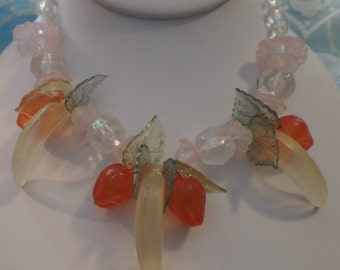 Fun Vintage Clear Orange Red Yellow Lucite Fruit Bead Necklace FREE Shipping
