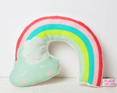 baby rattle with rainbow and cloud for nursery room - in mint, pink, lemon and turquoise