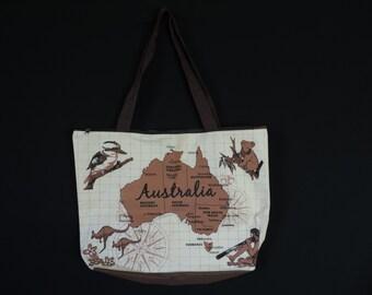 vintage Australia tote bag 70s down under graphic print souvenir shopper duffel bag