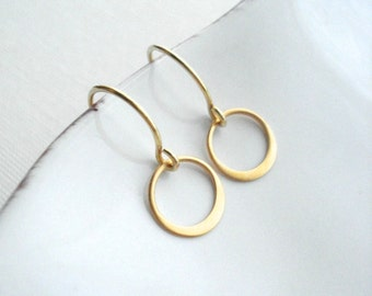 Gold Hammered Circle Drop Earrings Modern, Delicate, Minimalist, Geometric Jewelry, Gift For Her Under 25