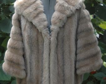 Rare Vintage Glam 1950's Regina Glenara Fabric by Glenoit Faux Fur /Collard / Wrap / Stole / Ladies Size S/M