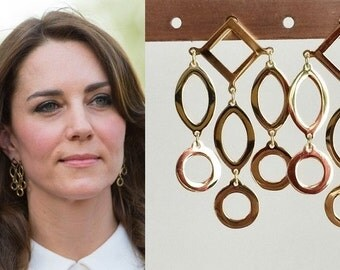 SALE! FINAL QUANTITY! Kate Middleton Geometric Gold Chandelier Earrings