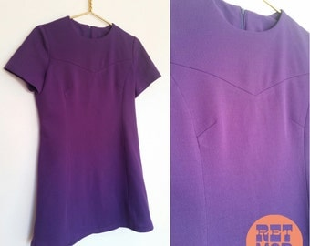 Simple Purple Vintage 60s Mod Scooter Shift Dress with Space Age Look!