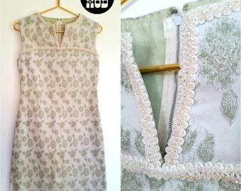 Pretty Vintage 60s Mod Pastel Mint Green Floral Jacquard Shift Dress with Sparkle Trim!