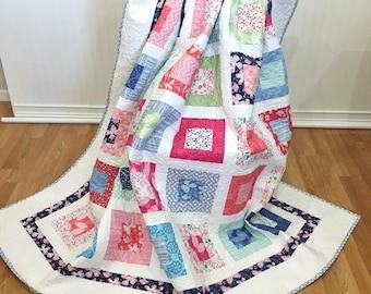 """Twin Quilt Aria HANDMADE Patchwork Quilt Moda Kate Spain Butterflies 79x89"""""""