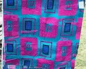 """Sale Vnt Fabric  Retro Geometric pattern  hot Pink Turquoise  5 yards 60"""" wide"""