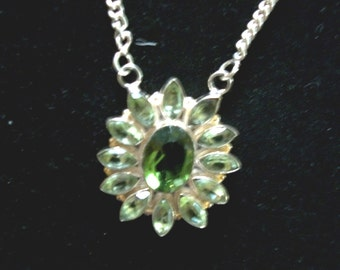 Green Topaz Sterling Silver  Pendant/ Necklace  on Sale