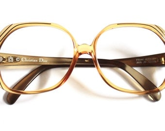 Vintage Christian Dior Eyeglasses // 1980s Dior Frosted Two Tone Golden and Green Frames // Made in Germany // 2035