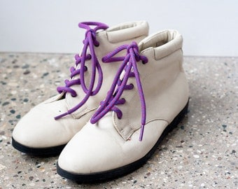 1990's Cream Ankle Boots Geometric Laces Womens 6.5