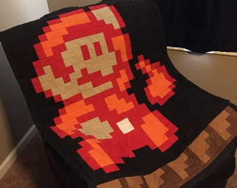 Super Mario Brothers 3 Fire Mario Baby Blanket Quilt
