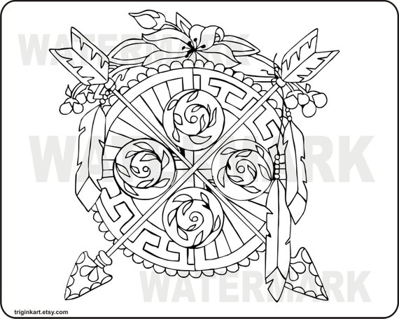 twin arrows adult coloring page