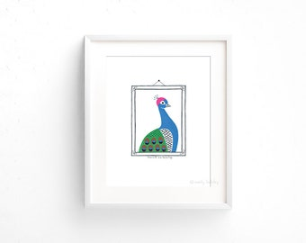 Peacock in a Swim Cap (100 Animals in Hats Series) - Giclee print of original collage illustration - 8 x 10in