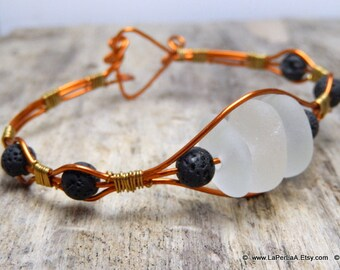 FOR HIM or HER - Rustic Sea Glass Wire Wrap Bracelet with Amalfi Sea Glass - copper - recycle reuse