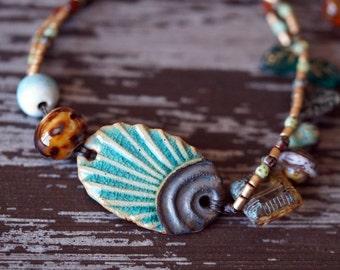 Ceramic Earthy Bracelet - Teal and Rust Bracelet - Multi Strand - Boho Woodland Bracelet - Bead Soup Jewelry