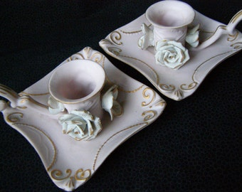 Norcrest Japan Taper Candle Holders, set of 2 Chantilly Pink