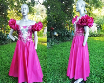 35% OFF 80s Prom Dress in Hot Pink by Alyce Designs / Vintage Bridesmaid Dress / Vintage Dress / 80s Dress Size 4