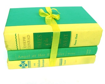 Lemon Lime Book Decor, Interior Design, Green and Yellow Book Bundle, Book Collection, Vintage Book Collection, Spring Book Collection