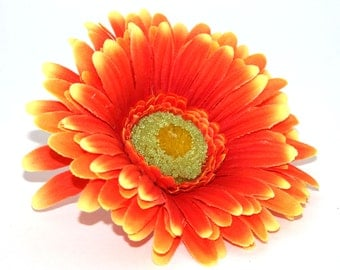 Yellow tipped Orange Gerbera Daisy - Artificial Flowers, Silk Flower Heads - PRE-ORDER
