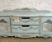 RESERVEKelseighPainted Cottage Chic Shabby Hand Made Farmhouse Media Cabinet