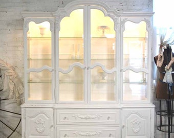 Painted Cottage Chic Shabby White Romantic French China Cabinet CC680