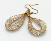 Gold Mesh and Crystal Earring Hoops