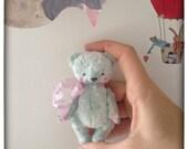 3 inch Artist Handmade Mint Plush Miniature Pocket Sized Teddy Bear by Sasha Pokrass